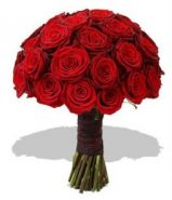 Свадебный букет из роз «Пылающий костер»