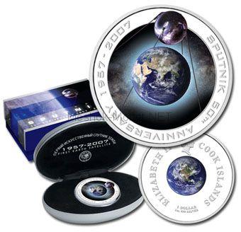 1 доллар 2007, острова Кука, Первый искусственный спутник Земли