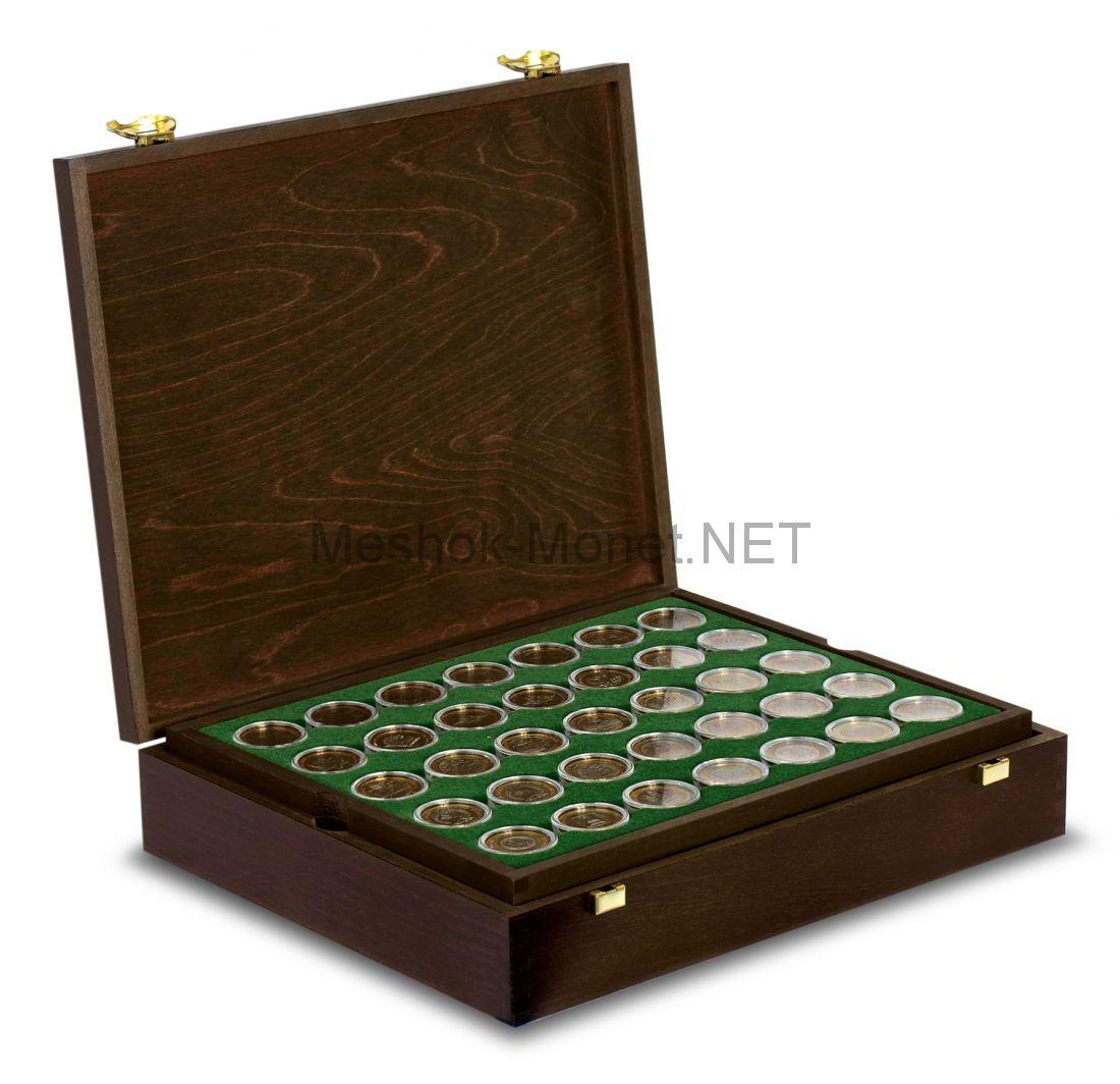 Коллекция биметаллических монет 10 рублей Люкс в деревянном футляре